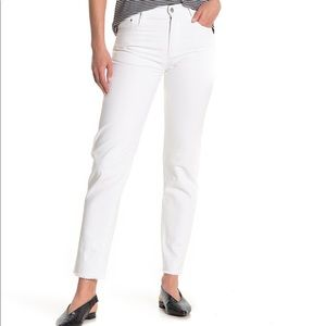 Tractr High rise Slim Straight Jeans White